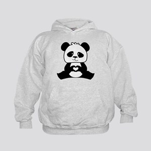 Panda's hands showing love Kids Hoodie