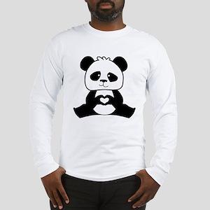 Panda's hands showing love Long Sleeve T-Shirt