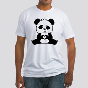 Panda's hands showing love Fitted T-Shirt
