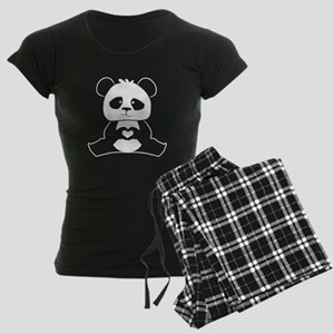 Panda's hands showing love Women's Dark Pajamas