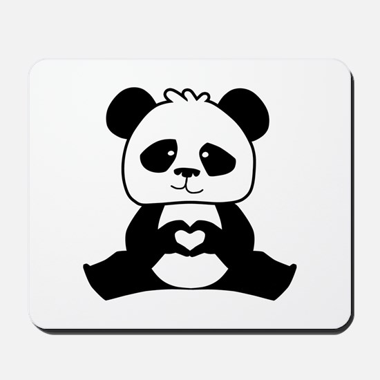 Panda's hands showing love Mousepad