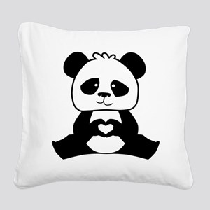 Panda's hands showing love Square Canvas Pillow