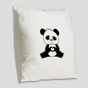 Panda's hands showing love Burlap Throw Pillow