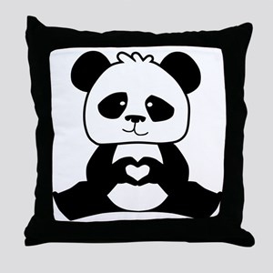 Panda's hands showing love Throw Pillow