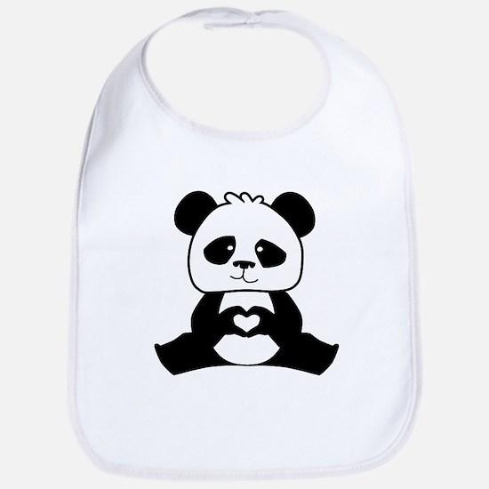 Panda's hands showing love Bib