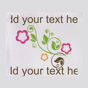 Custom add text flowers Throw Blanket