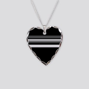 Team Colors2...Black,gray and white Necklace Heart