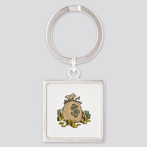Dollars Gold Money Bag Keychains