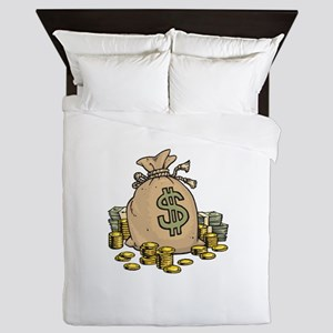 Dollars Gold Money Bag Queen Duvet