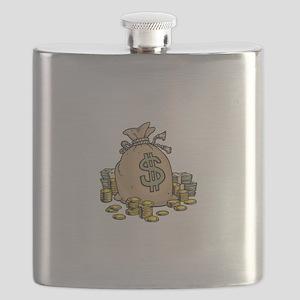 Dollars Gold Money Bag Flask