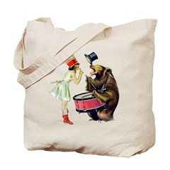 Drumming Bear Tote Bag