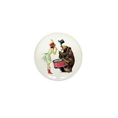 Drumming Bear Mini Button (10 pack)