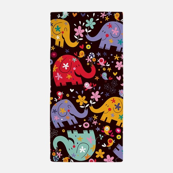 Colorful Elephants Beach Towel