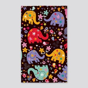 Colorful Elephants 3'x5' Area Rug
