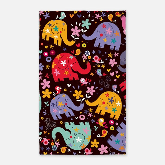 Colorful Elephants 3'x5' Area Rug