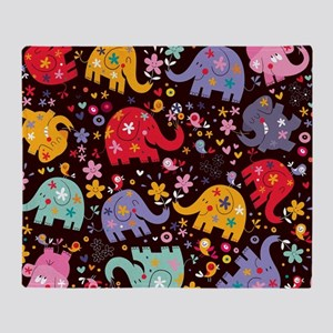 Colorful Elephants Throw Blanket