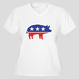 Political Party Pig Mascot Plus Size T-Shirt