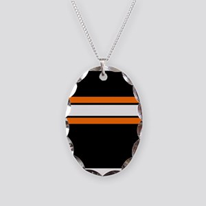 Team Colors 2...Orange,white and black Necklace Ov