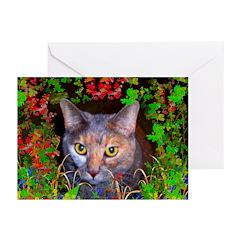 Yellow_Eyed Cat Art Greeting Cards (Pk of 10)