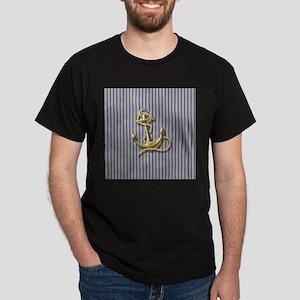 blue pin stripes pattern nautical anchor T-Shirt