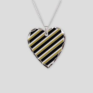 Team Colors...Black,gold Necklace Heart Charm