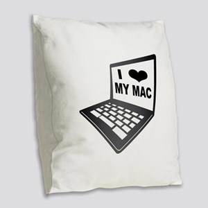 I Love My Mac Burlap Throw Pillow