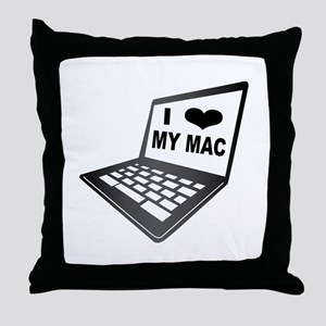 I Love My Mac Throw Pillow