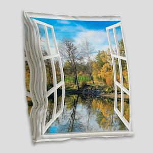 Lake View Burlap Throw Pillow