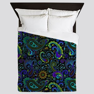 purple and yellow paisley Queen Duvet