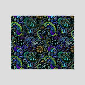 purple and yellow paisley Throw Blanket