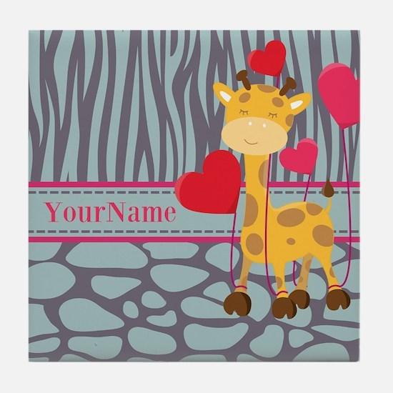 Custom Giraffe, Zebra Animal Print Tile Coaster