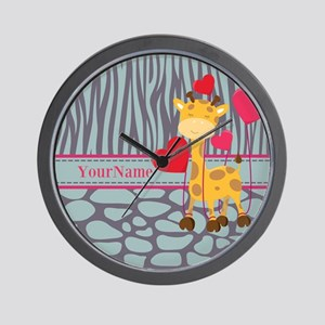 Custom Giraffe, Zebra Animal Print Wall Clock