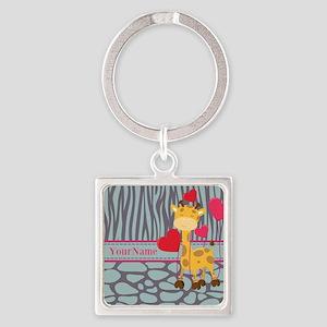Custom Giraffe, Zebra Animal Print Square Keychain