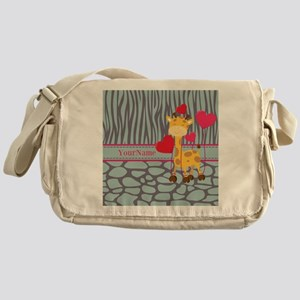 Custom Giraffe, Zebra Animal Print Messenger Bag