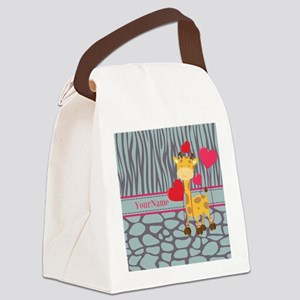 Custom Giraffe, Zebra Animal Prin Canvas Lunch Bag
