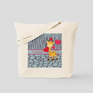 Custom Giraffe, Zebra Animal Print Tote Bag
