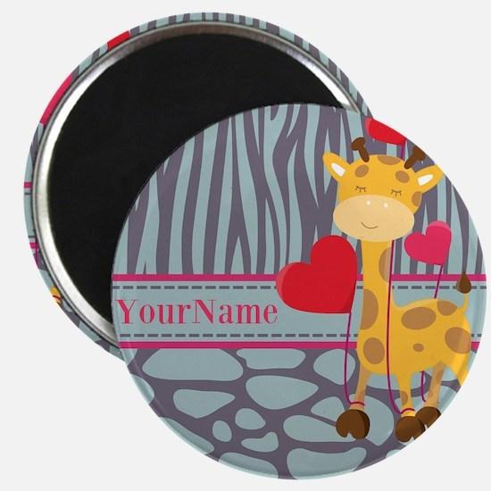 Custom Giraffe, Zebra Animal Print Magnet