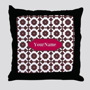 Custom Brown and Purple Pattern Throw Pillow
