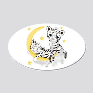White Tigers - 20x12 Oval Wall Decal