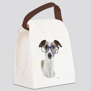 Whippet with lens Canvas Lunch Bag