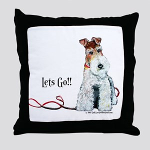 Fox Terrier Walk Throw Pillow