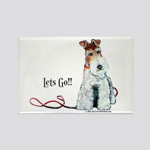 Fox Terrier Walk Rectangle Magnet