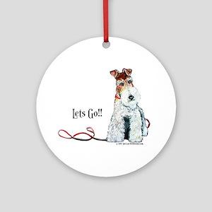 Fox Terrier Walk Ornament (Round)