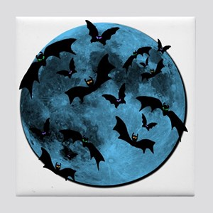 Bats Flying in Blue Moon Tile Coaster