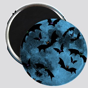 Bats Flying in Blue Moon Magnet