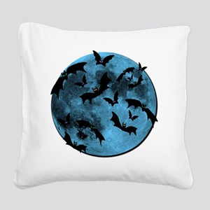 Bats Flying in Blue Moon Square Canvas Pillow