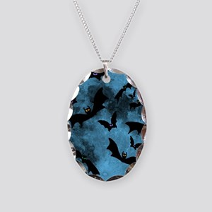 Bats Flying in Blue Moon Necklace Oval Charm
