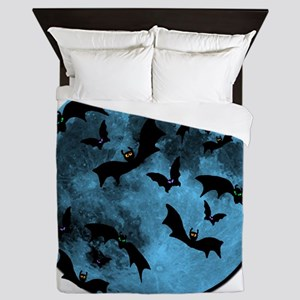 Bats Flying in Blue Moon Queen Duvet