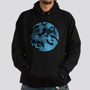 Bats Flying in Blue Moon Hoodie (dark)