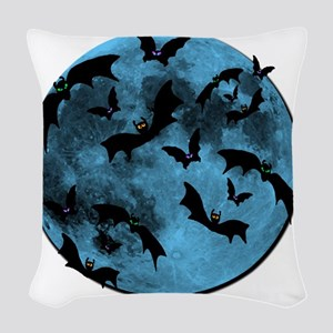 Bats Flying in Blue Moon Woven Throw Pillow